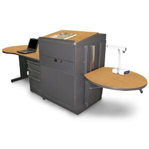 Teacher's Desk with Media Center, Lectern, Adjustable Height Work Platform, and File Storage, Marvel