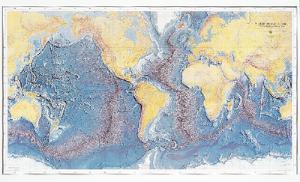 Raised Relief Ocean Floor Map