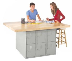 Four-Station Workbenches with Lockers