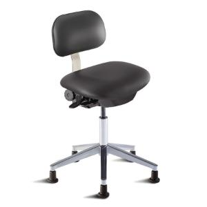 Biofit Bridgeport series ISO 3 cleanroom chair, medium seat height range, aluminum base and glides
