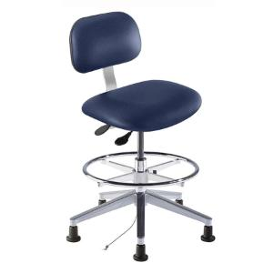 Biofit Bridgeport series static control chair, medium seat height range, adjustable footring, aluminum base and glides