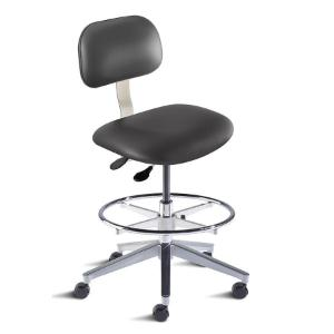 Biofit Bridgeport series ergonomic chair, medium seat height range, adjustable footring, aluminum base and casters