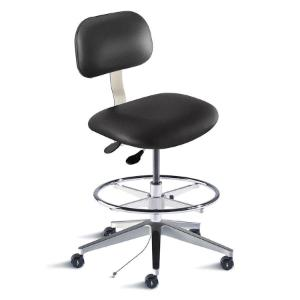 Biofit Bridgeport series static control chair, medium seat height range, adjustable footring, aluminum base and casters