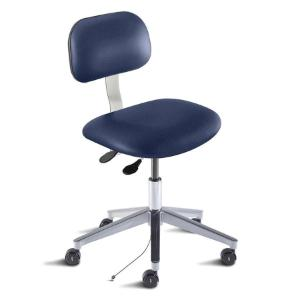 Biofit Bridgeport series static control chair, medium seat height range, aluminum base and casters; grounded Navy Upholstery