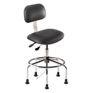 Biofit Bridgeport series static control chair, high seat height range with steel base, affixed footring and glides