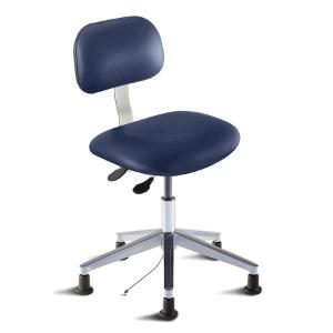 Biofit Bridgeport series static control chair, medium seat height range, aluminum base and glides; grounded Navy Upholstery