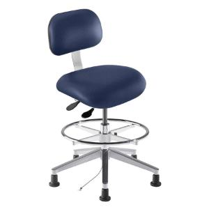 Biofit eton series static control chair, medium seat height range with free floating articulating control, adjustable footring, aluminum base and glides