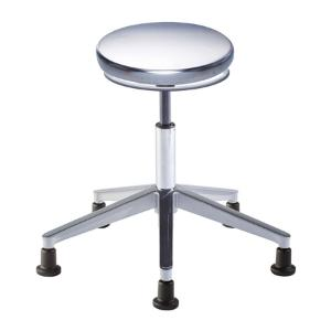 Biofit Traxx series ISO 4 cleanroom stool, medium seat height range with aluminum base and glides