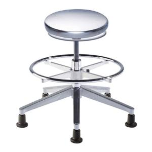 Biofit Traxx series ISO 4 cleanroom stool, medium seat height range with aluminum base, adjustable footring and glides