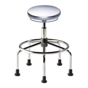 Biofit Traxx series ISO 4 cleanroom stool, high seat height range with steel base, affixed footring and glides