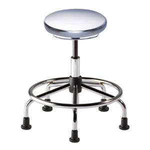 Biofit Traxx series ISO 4 cleanroom stool, medium seat height range with steel base, affixed footring and glides