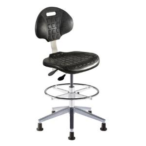 Biofit UniqueU series ergonomic chair, high seat height range with aluminum base, adjustable footring and glides