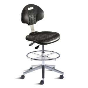 Biofit UniqueU series ergonomic chair, high seat height range with aluminum base, adjustable footring and casters