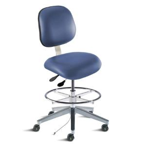Biofit Elite series ISO 5 cleanroom static control chair, medium seat height range with adjustable footring, wide aluminum base and casters; Blue Upholstery