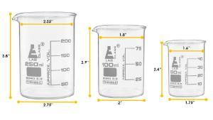 Glass set of 9 beaker flasks cylinders
