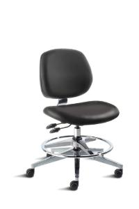 BioFit MVMT Tech Series Chair with Classic 5-Star Wide Aluminum Base, Medium Bench Height, Medium Backrest, Black Vinyl Upholstery, Adjustable Footring, Casters and Technical Performance Package.
