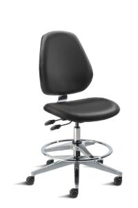 BioFit MVMT Tech Series Chair with Classic 5-Star Wide Aluminum Base, High Bench Height, Tall Backrest, Black Vinyl Upholstery, Adjustable Footring, Casters and Technical Performance Package.