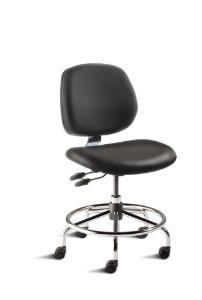 BioFit MVMT Tech Series Chair with Heavy Duty Tubular Steel Base, Desk Height, Medium Backrest, Black Vinyl Upholstery, Affixed Footring, Casters and Technical Performance Package.