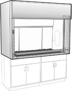 Venturi V05-General Purpose Bench Fume Hood with Vertical Rising Sash, Kemglass Liner, Kewaunee Scientific