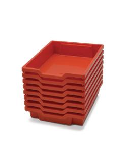 Shallow (F1) Storage Tray in Flame Red Stacked for Storage