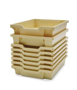 Shallow (F1) Storage Tray in Magnolia Stacked