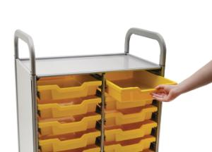 Gratnells Callero Plus Double Tray Cart 16 Shallow Trays - Sunshine Yellow