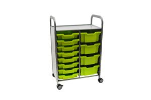 Gratnells Callero Plus Double Tray Cart 8 Shallow & 4 Deep Trays - 470316-500