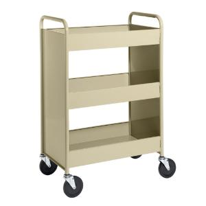 "Almond Cart with Three 4"" Deep Trays"