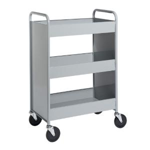 "Gray Cart with Three 4"" Deep Trays"