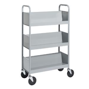 Gray Cart with Three Single-Sided Sloping Shelves