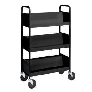 Black Cart with Three Single-Sided Sloping Shelves