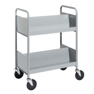 Gray Cart with Two Double-Sided Sloping Shelves