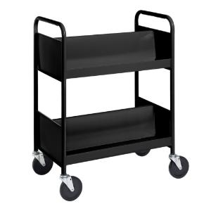 Black Cart with Two Double-Sided Sloping Shelves