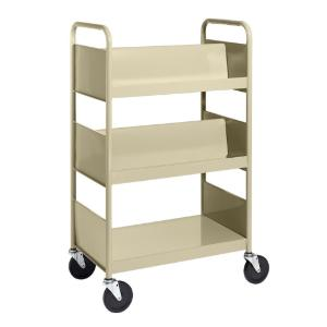 Almond Cart with Two Double-Sided Sloping Shelves, One Flat-Bottom Shelf