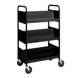 Black Cart with Three Double-Sided Sloping Shelves
