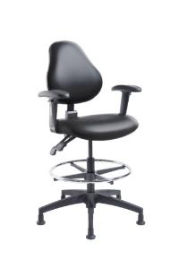 """VWR® Upholstered Lab Chair with Arms, CAL 133, Bench Height, 2"""" Nylon Glides"""