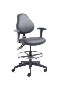 VWR® Upholstered Lab Chairs with Arms, Bench Height, Dual Soft-Wheel Casters