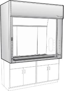 "Venturi V25 LX Series General Purpose Bench Fume Hoods with 28"" Vertical Rising Sash, Type 304L Stainless Steel Liner, Kewaunee Scientific"