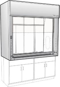 "Venturi V26 LX Series General Purpose Bench Fume Hoods with 35"" Combination Vertical/Horizontal Sash, Type 304 L Stainless Steel Liner, Kewaunee Scientific"