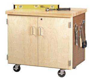 Mobile Door Cabinet With Pegboard
