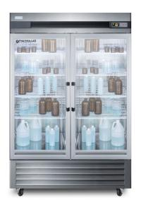 Medical laboratory series refrigerator with glass doors and casters, 49 cu.ft.
