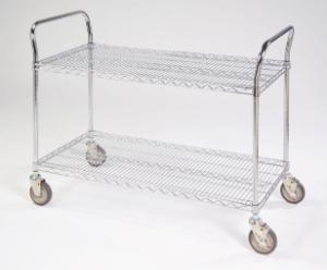 Round Post Wire Shelf Utility Cart