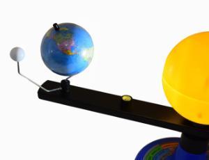 Illuminated Sun, Earth, and Moon orbital model