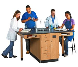 Student Workstations, Single-Faced Units Phenolic Top, Door/Drawer Configuration