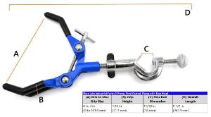Premium three-finger long clamp with bosshead, vinyl coated