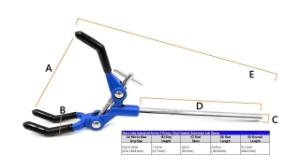 Premium three-finger long clamp, vinyl coated